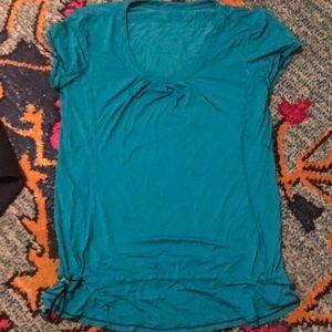 Lululemon Turquoise Drawstring Short Sleeve Shirt